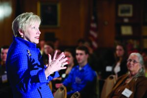 PUBLIC EDUCATION PHILANTHROPY: SUNY Chancellor, Nancy L. Zimpher, spoke to the SUNY Oneonta Foundation board, stressing the importance of giving to our public higher education system in New York, kicking off the college's multi-million dollar campaign.