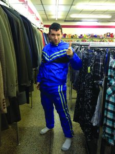 Sophomore Alex Eckert buying clothes at a thrift shop