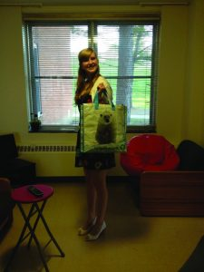 Junior Mary Connell using a reusable bag