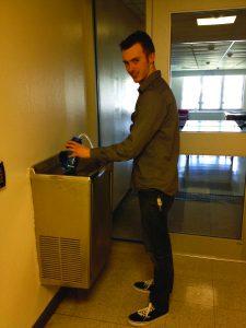 Sophomore Frank Funigiello using a reusable water bottle