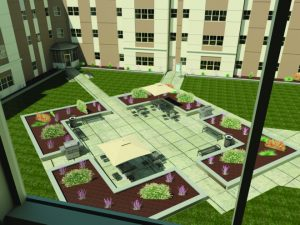 A view of the Hillside Commons' plan for the outdoor accommodations to be completed by the middle of August.