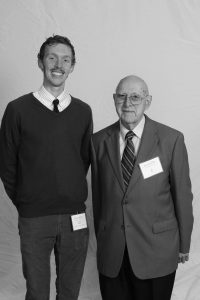 SUNY Oneonta senior Charles Remillard, this year's recipient of the Science Discovery Center Scholarship, with Professor Read.  Photo courtesy of Hal Legg