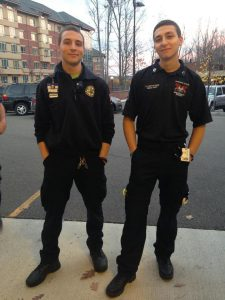 Perticone (right) with Binghamton's Devin Howell, EMT-CC with BU's Harpurs Ferry Volunteer Ambulance; taken when both schools provided mutual aid at a concertin October 2014;  photo courtesy of Perticone