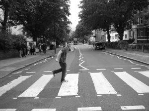 Joshua walking down the famous Abbey Road  photo courtesy of Joshua Burger