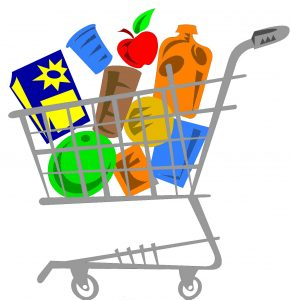 Filled grocery cart • Stock up! • Groceries galore