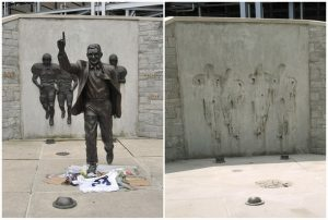 """A combination photo shows the Joe Paterno statue outside Beaver Stadium before (L) and after it has been removed (R) in State College, Pennsylvania, July 20, 2012 and July 22, 2012. Penn State leaders acknowledged that the seven-foot (2.1-metre) statue of the late Paterno had become """"a source of division"""" at the school after Jerry Sandusky, Paterno's former assistant coach, was convicted in June of sexually abusing 10 boys over 15 years. The statue was removed on July 22. REUTERS/Pat Little (UNITED STATES - Tags: SPORT FOOTBALL EDUCATION CRIME LAW)"""